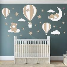 Nursery Wall Stickers Hot Air Balloons With Elephant Wall Decor Bunny And Other Animals In Pastel Colors Kids Wall Decals Girls Pink Wall Decals Murals Home Decor Home Living