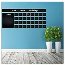 Amazon Com 47 X 21 Blackboard Vinyl Wall Decal Calendar With To Do List Chalkboard Erasable Mural Month Planner Sticker For Drawing Free Crayons Box Home Kitchen