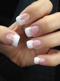 Newest Gel Nails White Glitter French Manicure With Champagne