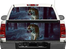Product Tiger In Moon Forest Rear Window Or Tailgate Decal Sticker Pick Up Truck Suv Car