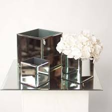 mirrored cube vases hire and style