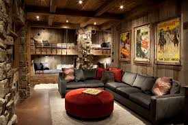 Bozeman Montana United States Basement Game Room Ideas Kids Rustic With Stained Concrete Floors Square Decorative Pillows