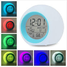 Gliving Alarm Clock For Kids Bedroom Wake Up Light Digital Clock With Indoor Temperature Calendar 6 Natural Sound 7 Colors Changing Light Green Walmart Com Walmart Com