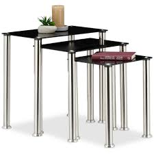 relaxdays nesting table set of 3 black