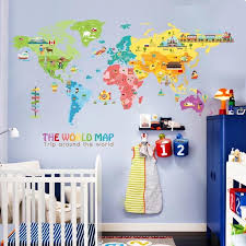 Large World Map Wall Decal The Treasure Thrift