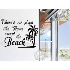 Summer Surf Beach Wall Sticker Quote No Place Like Home Except The Beach Wall Mural Decor Decal With Palm Tree