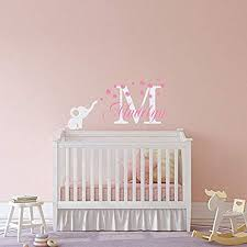 Amazon Com Elephant Name Wall Decal Personalized Girl Nursery Decor Custom Wall Decal With Girls Name And Elephant Blowing Bubbles For Baby Nursery Home Kitchen