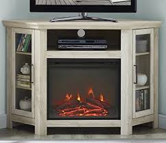 tall wood corner fireplace stand