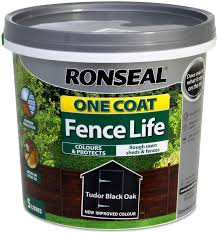 Ronseal Rslocfltbo5l One Coat Fence Life Tudor Black 5 Litre Amazon Co Uk Diy Tools