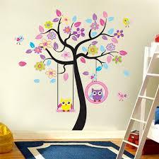 Kawaii Owls Wall Stickers Kids Bedroom Decorations Nursery Cartoon Chi Ellaseal