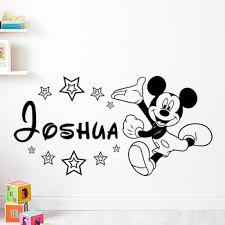 Hot Discount Adbce Disney Baby Mickey Mouse Warm Custom Name Wall Stickers Decal Boys Kids Room Wall Personalized Name Nursery Decoration Va8637b Cicig Co