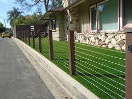 Endwood Vinyl Semi Privacy Fence Stainless Steel Cable Railing Modern Garden Los Angeles By Fence Factory