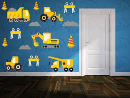 Construction Transportation Dump Truck Digger Wall Decals Kids Etsy Construction Theme Rooms Kids Wall Decals Truck Theme Room