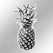 Funny Car Bumper Sticker Black And White Pineapple Fruit Vinyl Decal 63 X 125mm Ebay