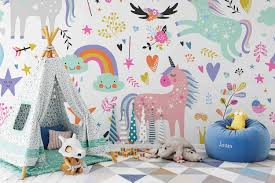 3d Unicorn Removable Wallpaperpeel And Stick Wall Mural Etsy Nursery Wall Stickers Playroom Mural Kids Wall Decals