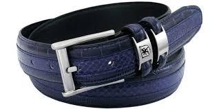 men s navy blue tri leather belt size