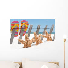 Starfish Flip Flops Wall Decal By Wallmonkeys Peel And Stick Graphic 24 In W X 16 In H Wm721 Walmart Com Walmart Com