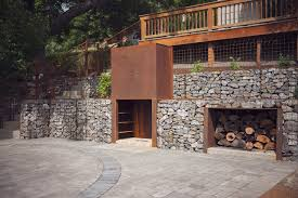 outdoor fireplace wood storage