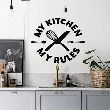 My Kitchen My Rules Wall Decal Kitchen Wall Sticker Knife And Fork Wall Art Mural For Home Decor Decoration Mural N193 Wall Stickers Aliexpress