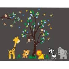 Nursery Wall Decals Nursery Decals Safari Animal Wall Decals Kids Room Furniture Jungle Animal Wall Decals Baby Wall Decals Large Tree