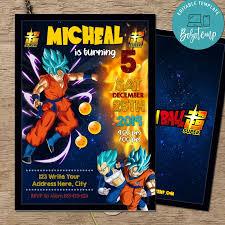 Archivo Digital De Invitacion Editable Son Goku Dragonball Z