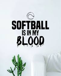 Softball Is In My Blood V2 Wall Decal Decor Art Sticker Vinyl Room Bed Boop Decals