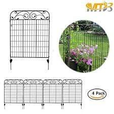 Mtb Black Steel Decorative Fence Panel 8 Leaves Metal Garden Border Folding Fences 44 H36 W Pkg Of 4 Decorative Fence Panels Metal Fence Panels Fence Panels