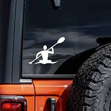 Amazon Com Vool Kayak Kayaker Die Cut Vinyl Window Decal Sticker For Car Truck Laptop 6 5 White Automotive