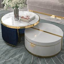 ottomans faux marble coffee table with