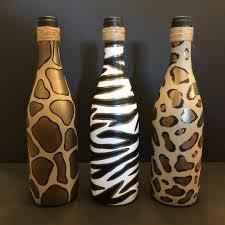 animal print painted wine bottles set