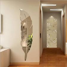 glass feather design wall mirror