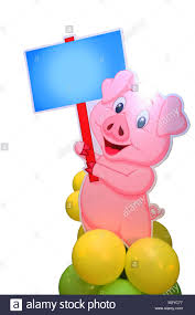 Cerdo Rosado Mostrando Junta Cumpleanos Y Etc Tarjeta De