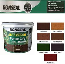 Scotvision Ronseal One Coat Fence Life Fast Dry Garden Shed Fence Paint 5 Litres Dark Oak Amazon Co Uk Diy Tools