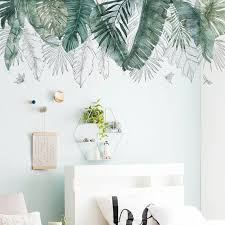 Large Wall Decal Watercolor Fresh Green Palm Leaves Wall Stickers Removable Vinyl Wall Kids Room Wall Decals Vinyl Wall Decals Living Room Wall Decor Bedroom