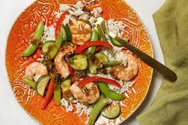 steamed shrimp and summer vegetables