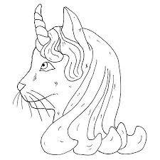 Cat Eenhoorn Hoofd Vector Geisoleerd Object Kleurboek Monochroom