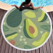 Fruit Avocado Monstera Green Beach Towels Kids Girl Shawl Fringe Microfiber Round Fabric Bath Towels For Living Room Home Decor Bath Towels Aliexpress