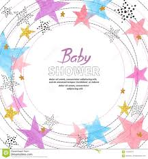 Baby Shower Invitation Card Design With Watercolor Colorful Stars