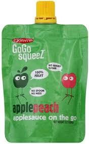 gogo squeez apple peach applesauce on