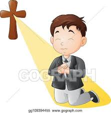 Vector Stock - Cartoon little boy kneeling while praying. Clipart  Illustration gg109394455 - GoGraph