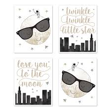 Moon And Star Wall Art Prints Room Decor For Baby Nursery And Kids By Sweet Jojo Designs Set Of 4 Grey Black And Gold Modern Celestial City Skyline Twinkle Twinkle