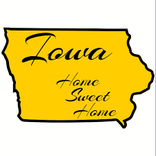 Iowa Home Sweet Home State Shaped Sticker U S Custom Stickers