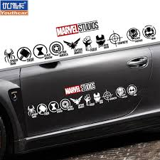 Car Stickers The Avengers Alliance Heroes Logo Car Sticker Iron Man Hulk Diffuse Wei Creative Body Garland Shopee Malaysia