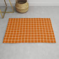 white lines grid pattern rug by