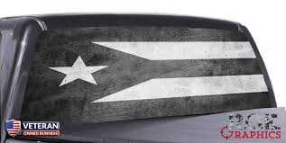 Puerto Rico Flag Black White Universal Truck Rear Window 50 50 Perfo Roe Graphics And Apparel