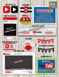 Youtube Theme Party Set Instant Digital Download Ideas Fiestas