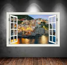 Window Frame View Greece Greek Village Sea Sticker Decal Wall Etsy Sea Wall Art Decal Wall Art Moon Wall Decal