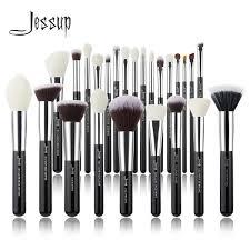 black silver makeup brushes set