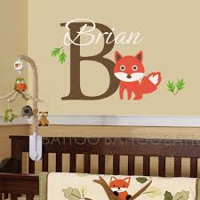 Battoo Name Wall Decal Custom Name Vinyl Wall Art Decal Sticker Fox Animal Custom Decals Personalized Name Decor Nursery Baby Room Art White Soft Pink 22 Tall Baby B06xvmzbcp
