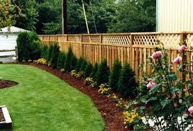 Adding Landscaping To A Simple Fence Is A Great Way To Keep Clean Lines In Your Backyard Fences Are Usually S Backyard Fences Landscaping Along Fence Backyard